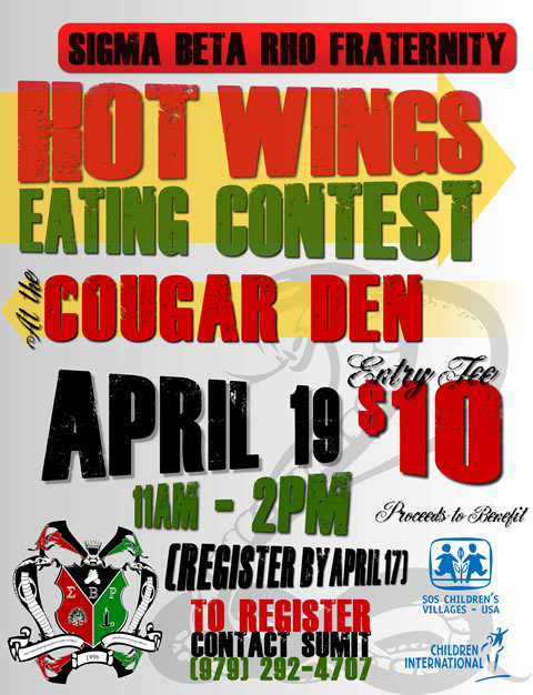 Wings Eating Contest Flyer – Sigma Beta Rho